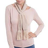 100% baby alpaca scarf, 'Glorious Knit in Champagne' - 100% Baby Alpaca Wrap Scarf in Champagne from Peru