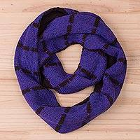 100% baby alpaca reversible infinity scarf, 'Mulberry Roads' - Reversible 100% Baby Alpaca Infinity Scarf in Mulberry