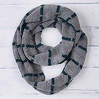 100% baby alpaca reversible infinity scarf, 'Teal Roads' - Reversible 100% Baby Alpaca Infinity Scarf in Teal and Smoke
