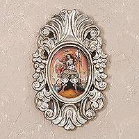 'Archangel Raphael in Silver' - Silver-Framed Archangel Raphael Colonial Painting from Peru