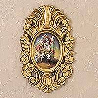 'Archangel Raphael in Gold' - Gold-Framed Archangel Raphael Colonial Painting from Peru