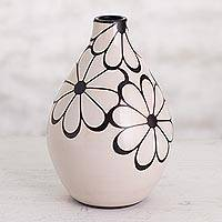 Ceramic decorative vase, 'Sweet Chulucanas Blossoms' - Floral Chulucanas Ceramic Decorative Vase from Peru