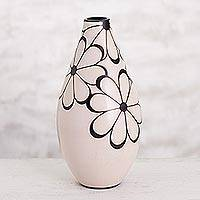 Ceramic decorative vase, 'Flourishing Chulucanas' - Handmade Chulucanas Ceramic Decorative Vase from Peru