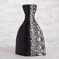 Ceramic decorative vase, 'Legendary Vicus' - Geometric Ceramic Decorative Vase from Peru