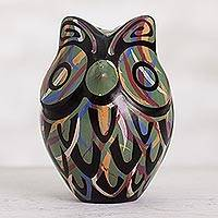 Ceramic figurine, 'Green Chulucanas Sentinel' - Chulucanas Ceramic Owl Figurine in Green from Peru