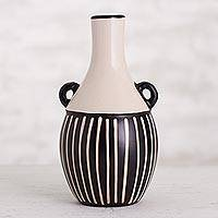 Ceramic decorative vase, 'Linear Motion' - Black and Ivory Chulucanas Ceramic Decorative Vase from Peru