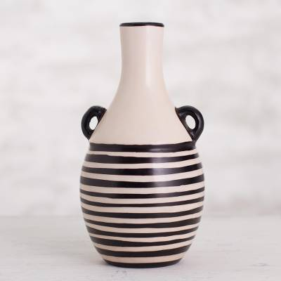 Ceramic decorative vase, 'Lines in Motion' - Striped Chulucanas Ceramic Decorative Vase from Peru