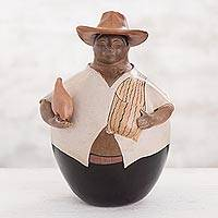 Ceramic sculpture, 'Proud Farmer' - Chulucanas Ceramic Sculpture Proud Farmer with Gourd