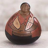 Ceramic sculpture, 'Delighted' - Chulucanas Ceramic Sculpture Delighted Farmer with Gourd
