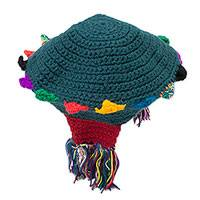 Alpaca blend cap, 'Incan Princess' - Teal with Colorful Accents Hand Crocheted Cap from Peru