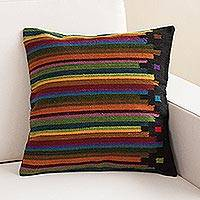 Wool cushion cover, 'Dreaming in Color' - Multicolor Striped Wool Handwoven Cushion Cover from Peru