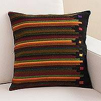 Wool cushion cover, 'Dreaming of Fall' - Striped Wool Cushion Cover from Peru