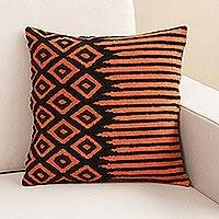 Wool cushion cover, 'Geometric Dimension' - Square Orange and Black Wool Cushion Cover from Peru