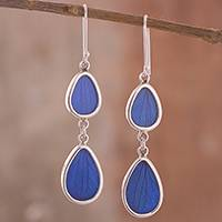 Natural leaf dangle earrings, 'Petal Illusion in Blue' - Blue Hydrangea Leaf and Sterling Silver Dangle Earrings
