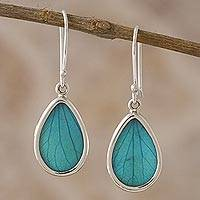 Natural leaf dangle earrings, 'Petal Essence in Aqua' - Aqua Hydrangea Leaf Sterling Silver Teardrop Dangle Earrings