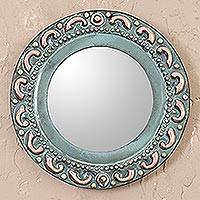 Copper and bronze wall mirror, 'Colonial Waves' - Wave Motif Copper and Bronze Wall Mirror from Peru