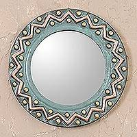 Copper and bronze wall mirror, 'Colonial Zigzags' - Zigzag Motif Copper and Bronze Wall Mirror from Peru