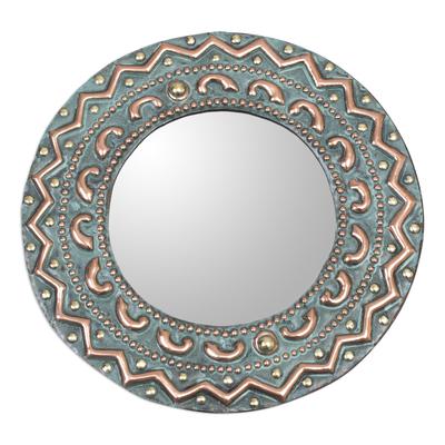 Copper and bronze wall mirror, 'Colonial Sun' - Patterned Copper and Bronze Wall Mirror from Peru