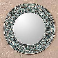 Copper and bronze wall mirror, 'Colonial Rays' - Colonial Copper and Bronze Wall Mirror from Peru