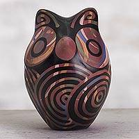 Ceramic figurine, 'Red Chulucanas Sentinel' - Chulucanas Ceramic Owl Figurine in Red from Peru