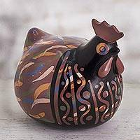 Ceramic sculpture, 'Red Chulucanas Hen' - Chulucanas Ceramic Hen Sculpture in Red from Peru
