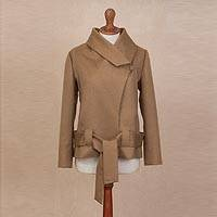 Alpaca blend coat, 'Sassy Chic in Tan' - Tan Alpaca Blend Oversized Collar Coat with Tie Belt