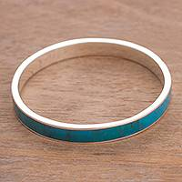 Chrysocolla bangle bracelet, 'Treasure of the Sea' - Natural Chrysocolla Bangle Bracelet from Peru