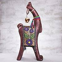Ceramic figurine, 'Happy Vicuña' - Red-Brown Vicuña with Purple Flower Blanket Ceramic Figurine