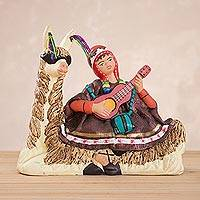 Ceramic figurine, 'Singing Under the Sun' - Handcrafted Llama and Young Andean Musician Ceramic Figurine
