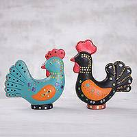 Ceramic figurines, 'Sunrise Mates' (pair) - Handcrafted Black Rooster Blue Hen Ceramic Figurines (Pair)