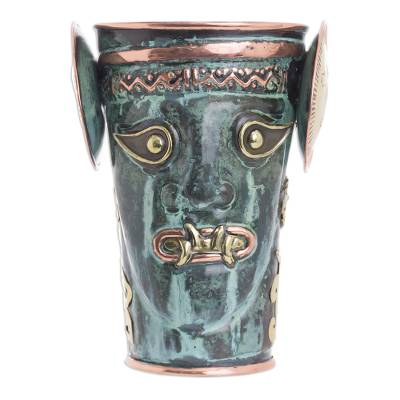 Green Patina and Polished Copper and Bronze Decorative Vase