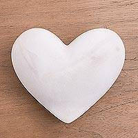Huamanga stone figurine, 'Heart in the Clouds' - Hand Carved Natural White Huamanga Stone Heart Figurine