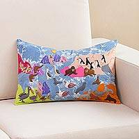 Appliqué cushion cover, 'Ocean Creatures' - Colorful Sea Life Appliqué on Blue Tie-Dye Cushion Cover