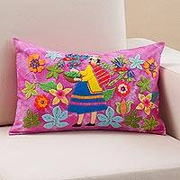 Appliqué cushion cover, 'Apple Harvester' - Apple Harvester Appliqué on Fuchsia Tie-Dye Cushion Cover