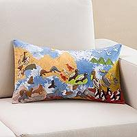 Appliqué cushion cover, 'Ocean Gathering' - Colorful Sea Life Appliqué on Sky Blue Tie-Dye Cushion Cover