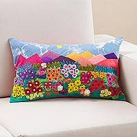 Appliqué cushion cover, 'Mountainside Gardens' - Mountain Garden Appliqué on Sky Blue Tie-Dye Cushion Cover