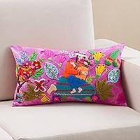 Appliqué cushion cover, 'Mother in Nature' - Mother and Child Appliqué on Fuchsia Tie-Dye Cushion Cover