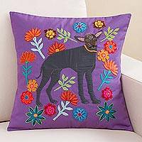 Appliqué cushion cover, 'Dog in the Garden' - Garden Dog Appliqué Purple Cotton Blend Cushion Cover