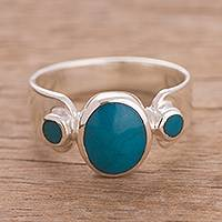 Chrysocolla cocktail ring, 'Sea Stones' - Three-Stone Chrysocolla Cocktail Ring from Peru