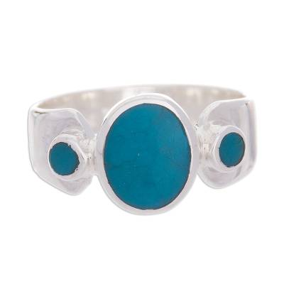 Three-Stone Chrysocolla Cocktail Ring from Peru