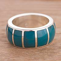 Chrysocolla band ring, 'Ocean Bars' - Chrysocolla and Sterling Silver Band Ring from Peru