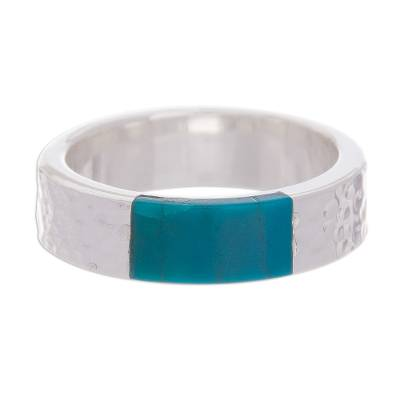 Rectangular Chrysocolla Band Ring from Peru