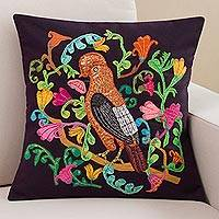 Appliqué cushion cover, 'Andean Cock of the Rock' - Garden Bird Appliqué Dark Purple Cotton Blend Cushion Cover