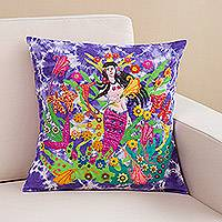 Appliqué cushion cover, 'Mermaid in Flowering Reef' - Mermaid Sea Garden Appliqué on Purple Tie-Dye Cushion Cover
