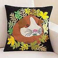 Appliqué cushion cover, 'Guinea Pig' - Guinea Pig Appliqué Black Cotton Blend Cushion Cover