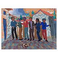 'The Friendship' - Signed Expressionist Painting of Friends from Peru