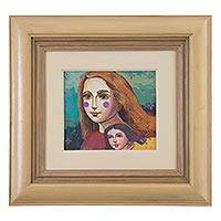 'Muses of Summer' - Framed Expressionist Mother and Daughter Painting from Peru
