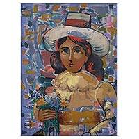 'Portrait of a Florist' - Signed Expressionist Portrait of a Florist from Peru