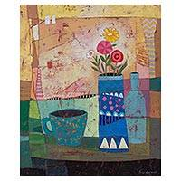 'Spring Still Life' - Signed Cubist Still Life Painting from Peru