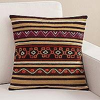 Wool cushion cover, 'Andean Wisdom' - Handwoven Wool Cushion Cover with Earth-Tone Stripes